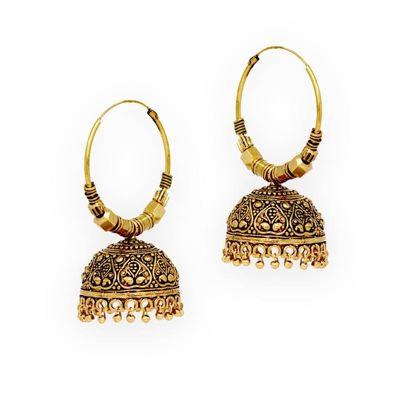 Buy Jaipur Oxidised Black Metal Gold Plated Bali Jumki Style Earrings Online