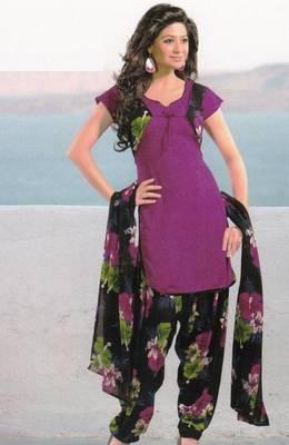 Dress Material Crepe Unstitched Patiala Salwar Kameez Suit D.No 6166