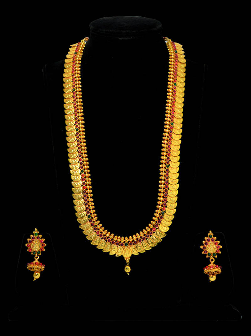 Buy Kasu Mala Lakshmi Ji Coins Traditional Design Necklace