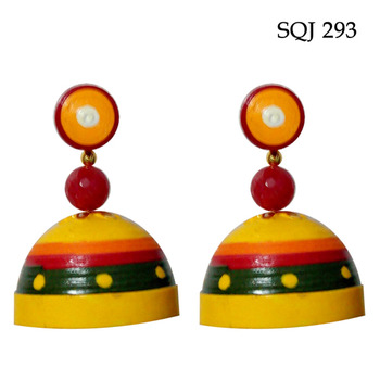 Yellow with green elegant quilled jhumkas