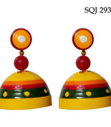 Buy Yellow with green elegant quilled jhumkas jhumka online
