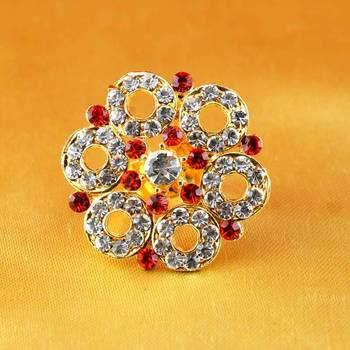 ring  with adjustable gold platted stone meenakari cz ad moti pearl polki kundun