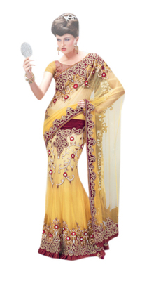 Yellow embroidered net saree