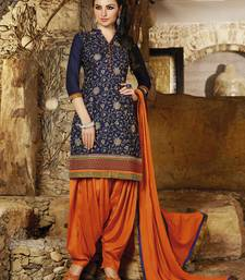 Buy Blue embroidered cotton and cambric unstitched salwar with dupatta patiala-salwar online