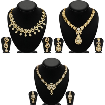 Glimmery 3 Pieces Necklace Set Combo