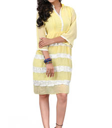 Buy Yellow Embroidered Chiffon kurtas-and-kurtis chiffon-kurti online