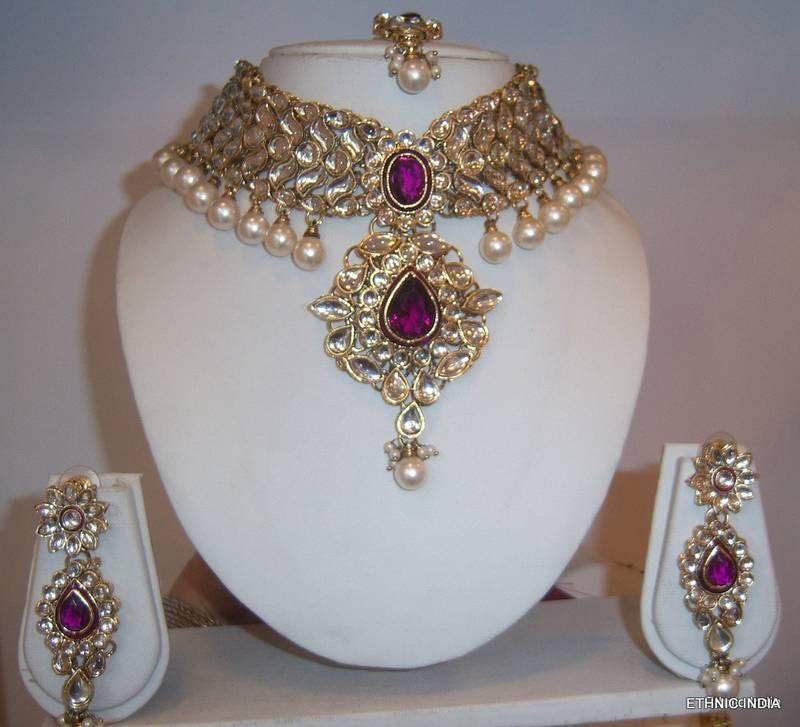 Buy Purple White Kundan Pearl Choker Gold Necklace Earring