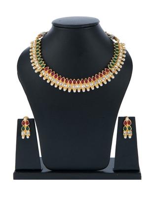 Maroon Green Fusion Design Kundan Choker Set with Pearls