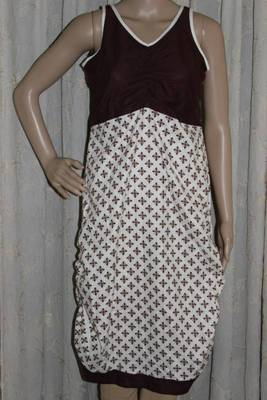 White and brown scrunched cotton kurti