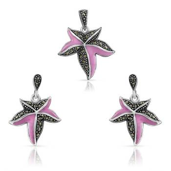 Mahi Mauve and Black Starfish Pendant Set with Swarovski Elements