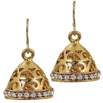Filigree 18K Antique Gold Plated CZ Jhumki Earring for Women