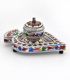 Buy Meenakari Sindoor Box n Tray in White Metal home-decor online