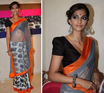 White and grey hand print saree