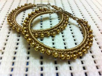 Golden hoops with beads