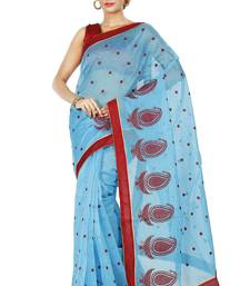 Buy Sky Blue embroidered Supernet saree with blouse supernet-saree online