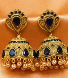 Buy Gorgeous matt finish high gold   earrings jhumka online