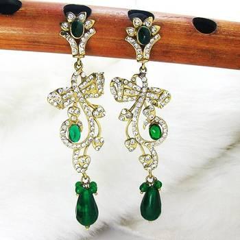 Victorian Floral Danglers Emerald Green