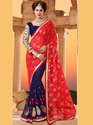 Red  and  Navy Blue embroidered georgette saree with blouse