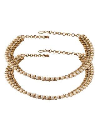 Oxidised golden polki pearl anklets