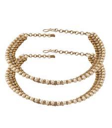 Buy Oxidised golden polki pearl anklets anklet online