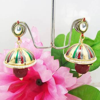 Meenakari Tokri Kundan Earring Green Grey Maroon Stripes