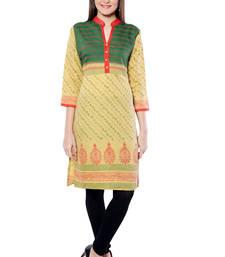 Buy Yellow printed  Rayon kurtas-and-kurtis long-kurti online