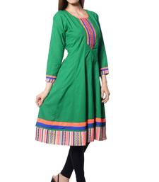 Buy Green plain  Cotton kurtas-and-kurtis long-kurti online