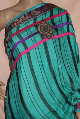 Jute chiffon Sea green striped saree