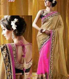 Buy chiku embroidered Georgette saree with blouse georgette-saree online