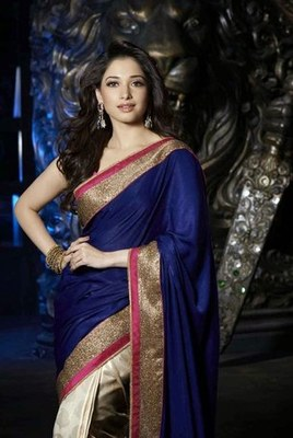 royal blue and off white plain satin saree with blouse