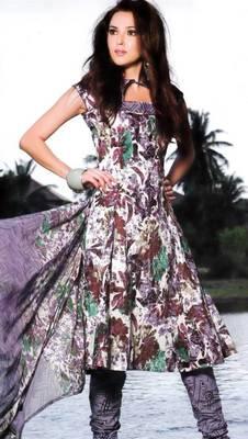 Cotton Dress Material With Chiffon Dupatta Unstitched Suit DN 2548