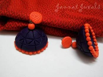 Violet and Orange Jhumka