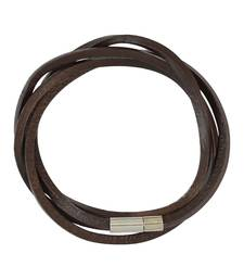 Buy Dark Brown Multi Strap Faux Leather Bracelet for Men Bracelet online