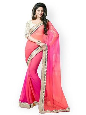 Bikaw Embroidered Pink And Orange Georgette Traditional PartyWear Saree.