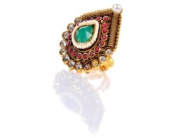 Delicate Polki Multi Colour Ring