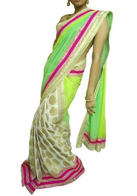 Pista green and White/Gold Saree