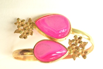 Semi Precious Pink Hand Cuff and free surprise gift