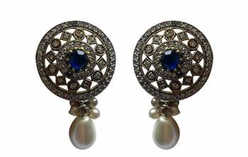 Teardrop Pearl Blue Colored stone Studs