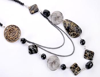 Black Beads Fashion Necklace Set
