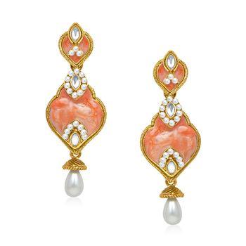 Kundan Orange Pearl Drop Earrings