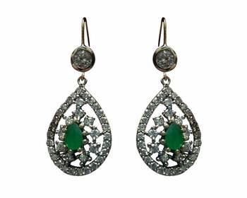 Studded Green colored stone earring