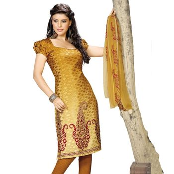 Fabdeal Yellow Colored Crepe Jacquard Party Wear Printed Dress Material