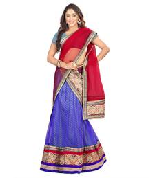Buy Purple embroidered net unstitched lehenga-choli navratri-lehenga-chaniya-choli online