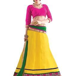 Buy Yellow embroidered net unstitched lehenga-choli lehenga-choli online
