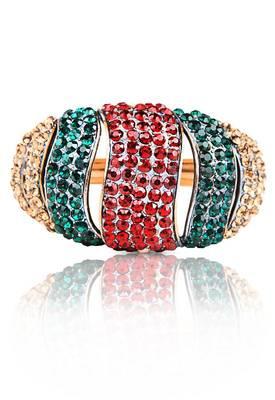 Just Women Traditional Kada with Multi color Semi precious Crystals