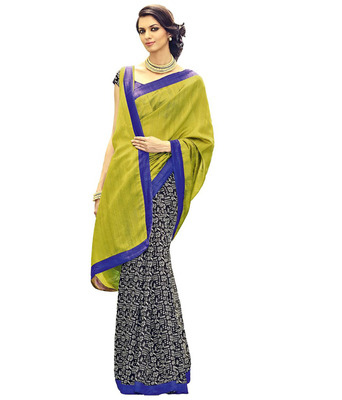 Black and light green art dupion silk printed saree with blouse
