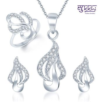 Sukkhi Delightly Crafted Rhodium Plated CZ Pandent Set and Ring Combo