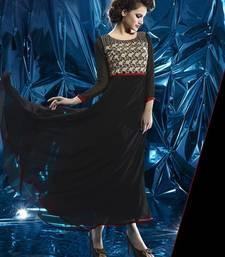 Buy Black Pure Georgette Stitched Kurti kurtas-and-kurti online