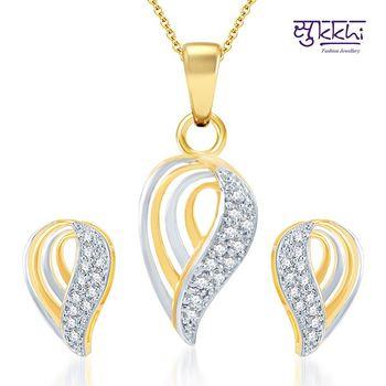 Sukkhi Dazzling Gold and Rhodium Plated CZ pendants Set