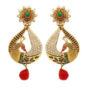 Traditional Ethnic Gold Plated Pear Peacock Dangler Earrings For Women